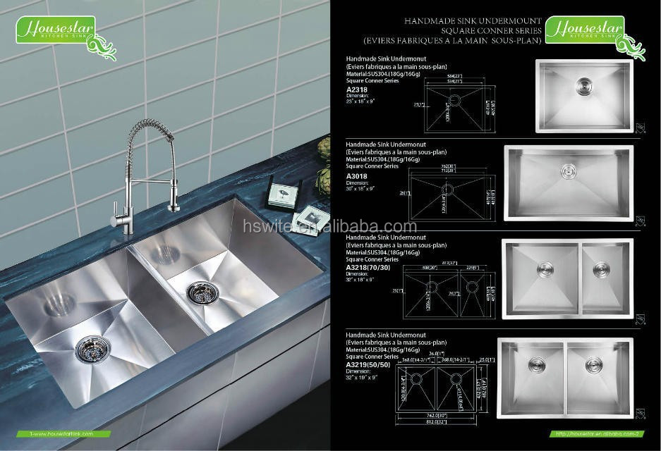 professional custom stainless steel kitchen sink by