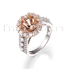 Fine Jewelry Semi Mount Ring Round 8.5mm Solid 18Kt Two Tone Gold Natural Diamond Semi Mount Ring Wedding Bridal Diamond Jewelry