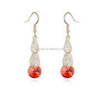 E1159 Free shipping 2014 New trend Korea style fashion color Crystal Earring crystal earrings Austria Crystal Earrings