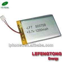 Shenzhen Factory On sale! High quality Customized 1200mah 3.7V lithium polymer li-ion battery 503759