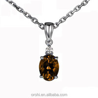 White Gold 18 carat Stunning Gemstone Dark Citrine Solitaire Pendant HP497CI