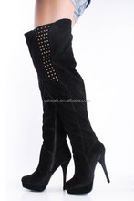 Designer Boots Black Suede Leather Round Toe Red Heels Platform Stiletto High Covered 140 Mm Heeled Over The Knee Boots