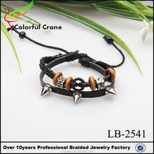 Vintage black genuine leather ring and bracelet jewelry sets handmade men charm bead bracelet
