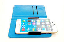 Universal smart phone PU leather case with plastic slide up clip