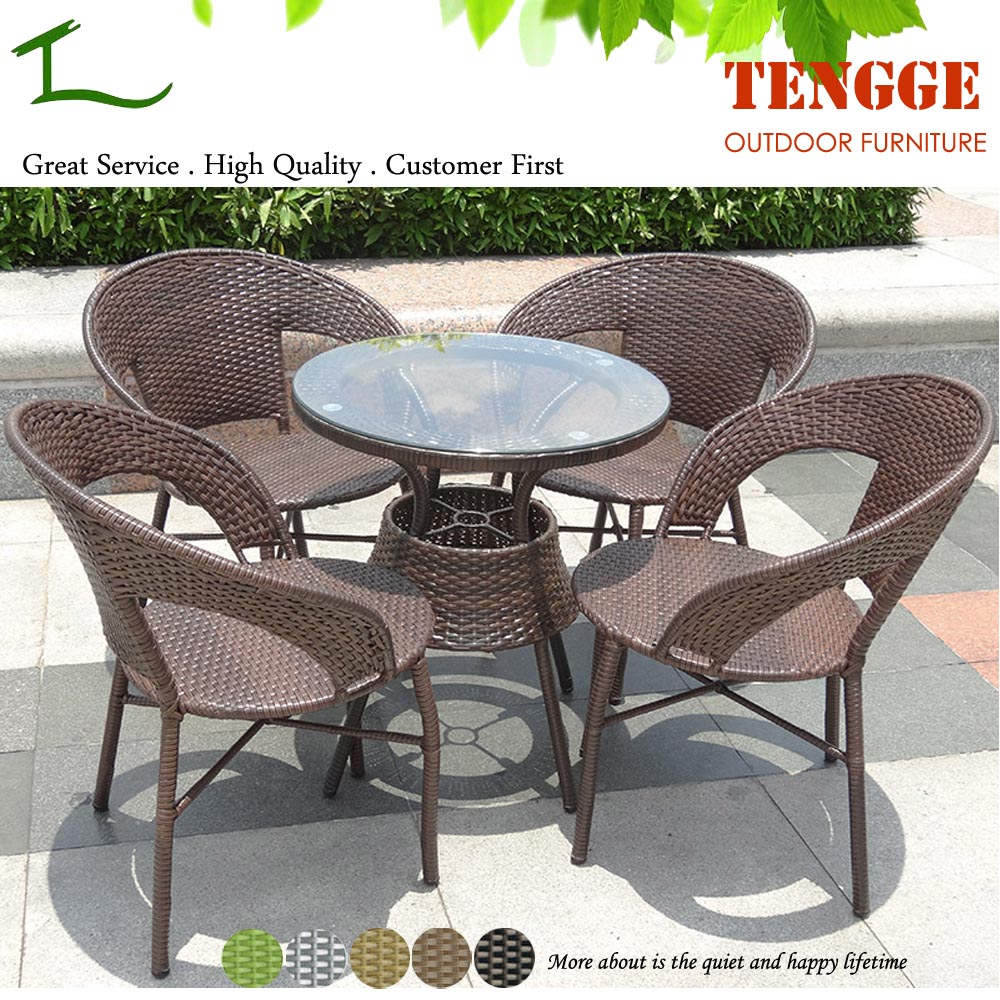 tg15 0182 5 pieces outdoor rattan cheap cafe tables and