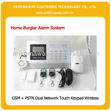 Quad Band GSM + PSTN Dual Network Touch Keypad Wireless Home Burglar Alarm System with CE