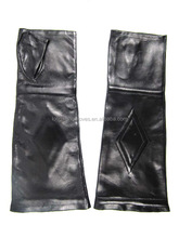 fashion long hand studded fingerless leather glove for woman