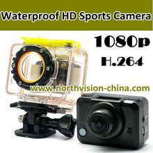 waterproof full HD 1080p sports action camera for diving, bike, helmet