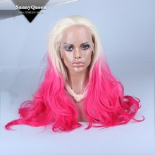 Sunny Queen Hair High quality factory price hot selling synthetic lace front wig 2 tones