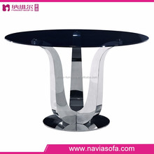 Fashion simple design modern glass dining table set glass top metal base luxury glass dining table