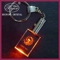3D Laser LED Crystal Photo Keychain For Souvenir Gifts