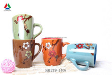 New arrival double glaze ceramic coffee mug with handpaint flowers