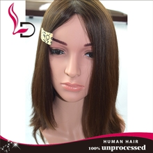 High Quality 100% human hair beautiful color straight with bend Jewish Kosher Human Hair Wigs