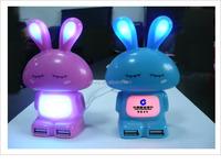 Multi colors lovely cartoon rabbit shaped 4 port usb hub with color changeable led light,gift usb hub(VNHB-86)