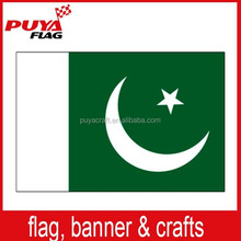 custom hot sell screen printing 75D polyester 3x5ft Pakistan flag national white green flag for election