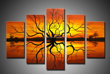 Wall paintings 5 pieces handmade african abstract oil paintings on canvas