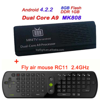 MK808B Dual Core Bluetooth Youtube Netflix Media Player Best Android Mini TV Dongle/Box+RC11 Air Mouse Keyboard