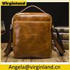 High Quality Brown Crazy Horse Vintage Men's Leather Bags Shoulder Pack