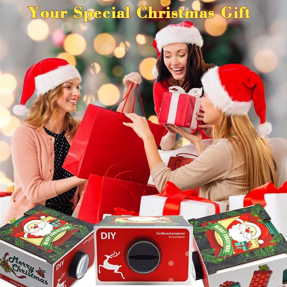 Smartphones cartão mini projetor para presente de Natal