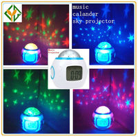 Music Starry Star Sky Projection Alarm Clock Calendar For Kids