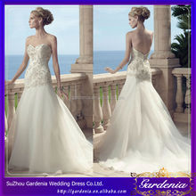 Latest Design Sexy Sweethert Neckline Beading Bodice Embroidery Low Back Trumpet Wedding Dress Pattern Organza Wedding Dress