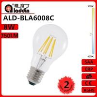 classic halogen lighting 360 degree 8W 750Lm Ra>80 2700K Glass CE RoHS A60 E27 led filament bulb