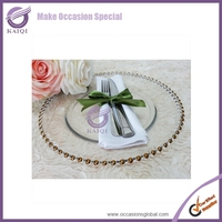 #18264 2015 design wholesale beaded disposable charger plates