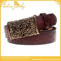Antique Flower Leather Embossed Belt Without Holes