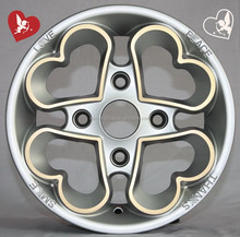 love and peace silver wheel rims with yellow line