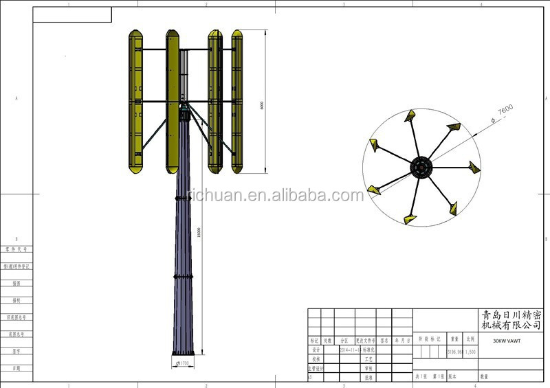 30KW Low RPM Vertical axis wind turbine