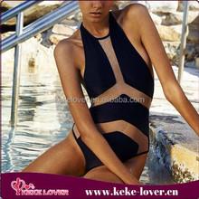 2015 New fashion sexy black girls swimwear bikini one piece triangl swimwear bikini young girls muslim swimwear wholesale