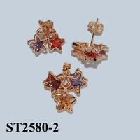 Hot Fashion Gold Jewelry Set Colorful Jewelry Cubic Zircon Jewelry Set