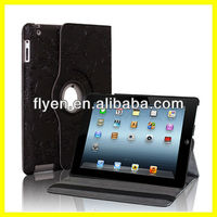 Embossed Leather Blossom For iPad 4 2 3 Black PU Leather Case Rotating 360 Degree Stand With Magnetic Wholesale Good Price