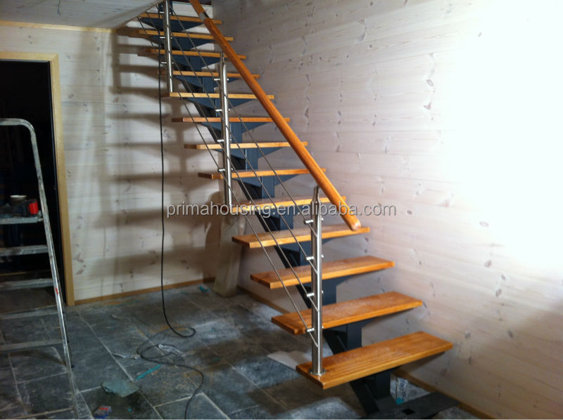 Modern L Shape Stair With Stainless Steel Railing Design