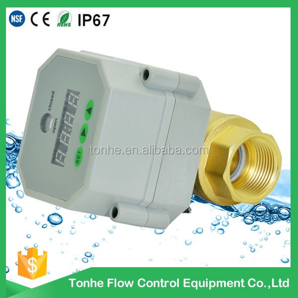 1/2 DN15 AC/DC 9-24v control water motorized electric ball valve with timer