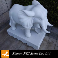 Natural Marble Elephant Sculpture In Statues For Garden