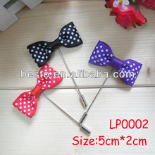 Wholesale custom small polka dot ribbon butterfly bow lapel pins for men