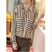 D92426T autumn european new style stripes turn-down collar big pocket woman blouse 2015