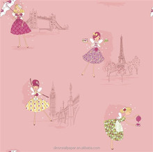 Best quality non woven kids wallpaper for girls living room decoration