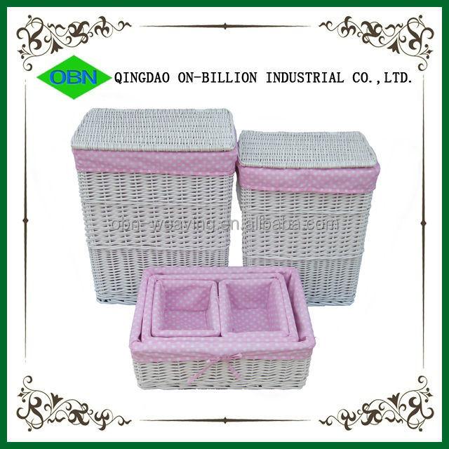blanco al por mayor de mimbre esquina cesto para ropa sucia cesta