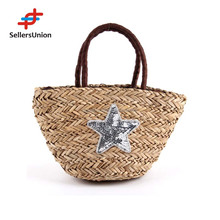 New products 2015 summer lady paper straw beach bag crochet straw woman handbag HAB0045