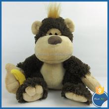 25cm Sitting plush toy monkey with blue soft banana