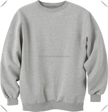 100 cotton plain heather grey sweatshirts without hoods custom wholesale exported to USA made in China