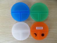 child Plastic round 3 compartment capsule storage case/pill box
