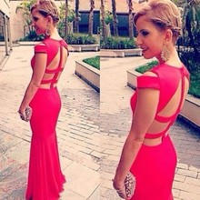 New Fashion 2015 Mesh Cap Sleeve Black/Red Hollow Out V-Neck Floor Length Bandage Dresses Special Occasion