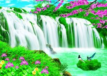 PET 3D waterfall wall picture for decoration