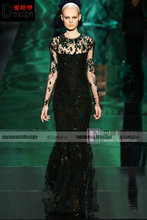 2014 New Arrival Sexy Black Lace Long Sleeve and Beaded Mermiad Floor-Length Evening Dress