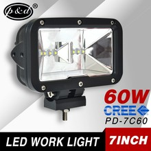 2015 new product 60w 7 inch rectangle 5400LM cre e led work light