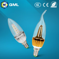 led chandlier bulb aluminum lamp body 3w 5w e14 led candle light 220-240v for decorativing use