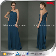 New Sexy One Shoulder Evening Dresses Beaded Satin Party Formal Full-Length Evening Gown